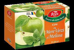 Ceai cu mere verzi și melissa, la plic