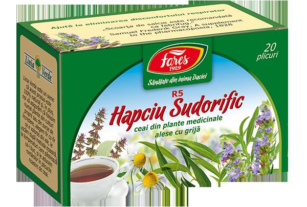 Hapciu Sudorific, R5, ceai la plic (fost 'scade febra')